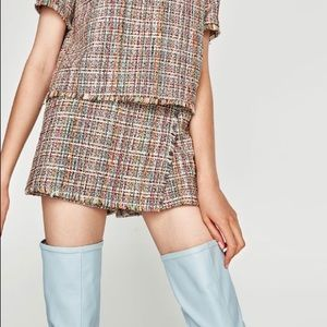 Zara Trafaluc Multicolor Rainbow Tweed Skort NWOT